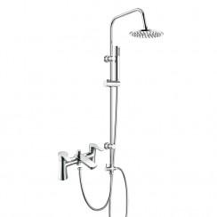 Rio Bath Shower Mixer Tap with 3 Way Round Rigid Riser Rail Kit