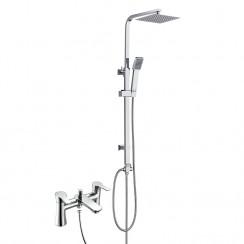 Rio Bath Shower Mixer Tap with 3 Way Square Rigid Riser Rail Kit
