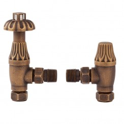 Antique Brass Thermostatic Radiator Valves Angled (pair)