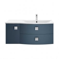 Sarenna Mineral Blue 1000mm Wall Hung 2 Drawer Unit & Basin RH