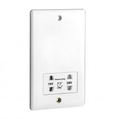 White Dual Voltage Bathroom Shaver Socket