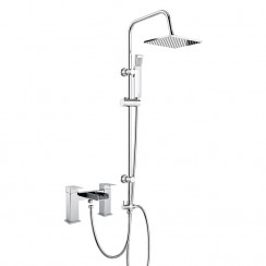 Shorditch Bath Shower Mixer Tap with 3 Way Square Rigid Riser Rail Kit
