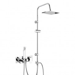 Shorditch Wall Mounted Bath Shower Mixer Tap with 3 Way Square Rigid Riser Rail Kit 1