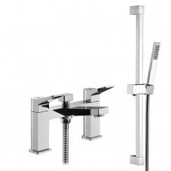 Soar Bath Shower Mixer Tap with Square Slider Shower Rail Kit