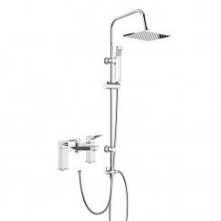 Soar Bath Shower Mixer Tap with 3 Way Square Rigid Riser Rail Kit