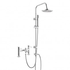 Soho Bath Shower Mixer Tap with 3 Way Round Rigid Riser Rail Kit