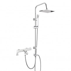 Soho Thermostatic Bath Shower Mixer Tap with 3 Way Square Rigid Riser Rail Kit