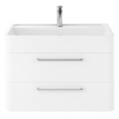 Solar Pure White 800mm Wall Hung 2 Drawer Cabinet & Basin