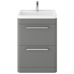 Solar Cool Grey 600mm Floor Standing Cabinet & Basin