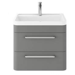 Solar Cool Grey 600mm Wall Hung 2 Drawer Cabinet & Basin