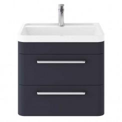 Solar Indigo Blue 600mm Wall Hung 2 Drawer Cabinet & Basin
