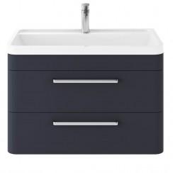 Solar Indigo Blue 800mm Wall Hung 2 Drawer Cabinet & Basin