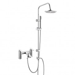 Solace Bath Shower Mixer Tap with 3 Way Round Rigid Riser Rail Kit