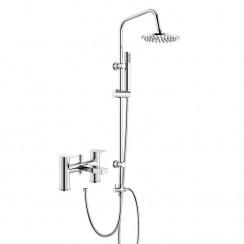 Sottile Bath Shower Mixer Tap with 3 Way Round Rigid Riser Rail Kit