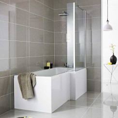 Complete Square Shower Bath 1500 x 850mm RH Lifestyle
