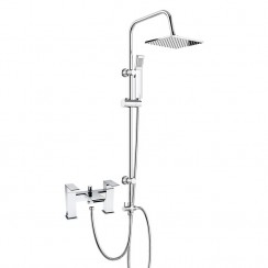 Strike Close Spout Bath Shower Mixer Tap with 3 Way Square Rigid Riser Rail Kit