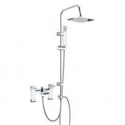 Strike Close Spout Bath Shower Mixer Tap with 3 Way Square Rigid Riser Rail Kit