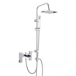 Strike Open Spout Bath Shower Mixer Tap with 3 Way Square Rigid Riser Rail Kit