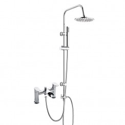 Sutton Bath Shower Mixer Tap with 3 Way Round Rigid Riser Rail Kit