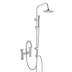 Tec Crosshead Bath Shower Mixer Tap with 3 Way Round Rigid Riser Rail Kit