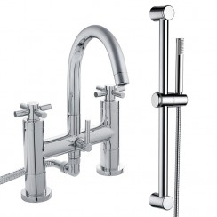 Tec Crosshead Bath Shower Mixer Tap & Rail Kit