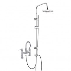 Tec Lever Bath Shower Mixer Tap with 3 Way Round Rigid Riser Rail Kit