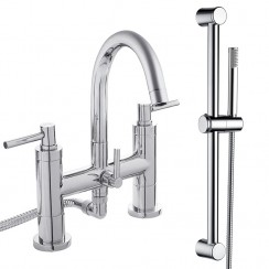 Tec Lever Bath Shower Mixer Tap & Rail Kit