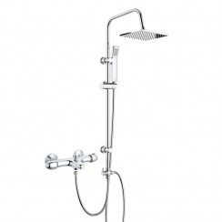 Premier Thermostatic Bath Shower Mixer Tap with 3 Way Square Rigid Riser Rail Kit