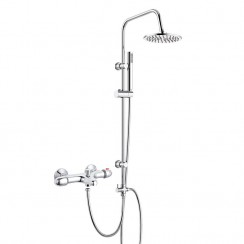 Premier Thermostatic Bath Shower Mixer Tap with 3 Way Round Rigid Riser Rail Kit