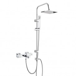 Square Thermostatic Bath Shower Mixer Tap Wall Mounted with 3 Way Square Rigid Riser Rail Kit