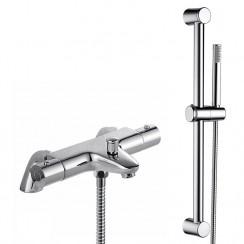 Alpha Thermostatic Bath Shower Mixer with Round Slider Shower Rail Kit