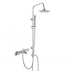 Alpha Thermostatic Bath Shower Mixer with 3 Way Round Rigid Riser Rail Kit