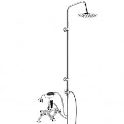 Topaz Black Crosshead Bath Shower Mixer Tap - Dome Collar with 3 Way Round Rigid Riser Rail Kit