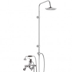 Topaz Black Crosshead Wall Mounted Bath Shower Mixer Tap - Dome Collar with 3 Way Round Rigid Riser Rail Kit