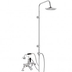 Topaz Black Crosshead Deck or Wall Mounted Bath Shower Mixer - Hex Collar with 3 Way Round Rigid Riser Rail Kit