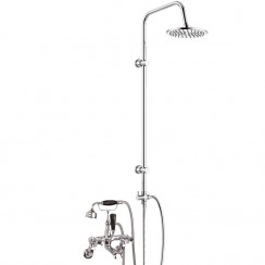 Topaz Black Crosshead Wall Mounted Bath Shower Mixer - Hex Collar with 3 Way Round Rigid Riser Rail Kit