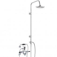 Topaz Black Lever Wall Mounted Bath Shower Mixer - Dome Collar with 3 Way Round Rigid Riser Rail Kit