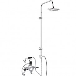 Topaz Black Lever Deck Mounted Bath Shower Mixer Tap - Hex Collar with 3 Way Round Rigid Riser Rail Kit