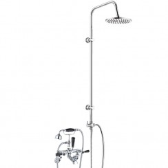 Topaz Black Lever Wall Mounted Bath Shower Mixer Tap - Hex Collar with 3 Way Round Rigid Riser Rail Kit