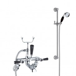 Topaz Black Lever Wall Mounted Bath Shower Mixer - Dome Collar with Traditional Slider Rail Shower Kit