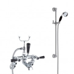 Topaz Black Lever Wall Mounted Bath Shower Mixer Tap - Hex Collar with Traditional Slider Rail Shower Kit