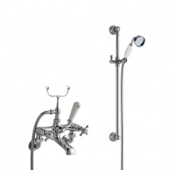 Topaz White Crosshead Wall Mounted Bath Shower Mixer - Dome Collar with Traditional Slider Rail Shower Kit