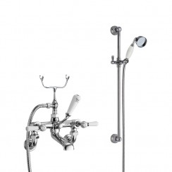 Topaz White Lever Wall Mounted Bath Shower Mixer - Hex Collar with Traditional Slider Rail Shower Kit