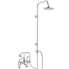 Topaz White Crosshead Wall Or Deck Mounted Bath Shower Mixer - Dome Collar with 3 Way Round Rigid Riser Rail Kit