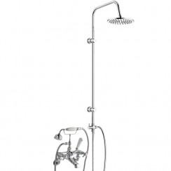 Topaz White Crosshead Wall Mounted Bath Shower Mixer - Dome Collar with 3 Way Round Rigid Riser Rail Kit
