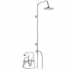 Topaz White Crosshead Deck Or Wall Mounted Bath Shower Mixer - Hex Dome with 3 Way Round Rigid Riser Rail Kit