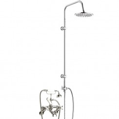 Topaz White Crosshead Wall Mounted Bath Shower Mixer - Hex Dome with 3 Way Round Rigid Riser Rail Kit