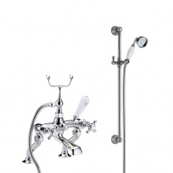 Topaz White Crosshead Deck Mounted Bath Shower Mixer - Hex Collar with Traditional Slider Rail Shower Kit