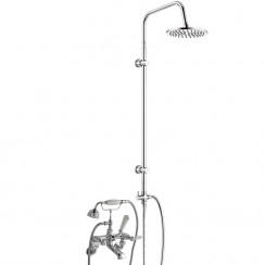 Topaz White Lever Wall Mounted Bath Shower Mixer Tap - Dome Collar with 3 Way Round Rigid Riser Rail Kit