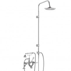 Topaz White Lever Deck Mounted Bath Shower Mixer - Hex Collar with 3 Way Round Rigid Riser Rail Kit